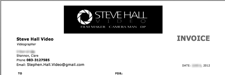 Free Sample Invoice for Videographers | Steve Hall Video